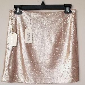 Sequined mini blush pink skirt